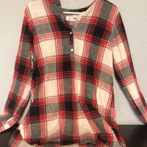 Half Button Plaid Shirt Dress